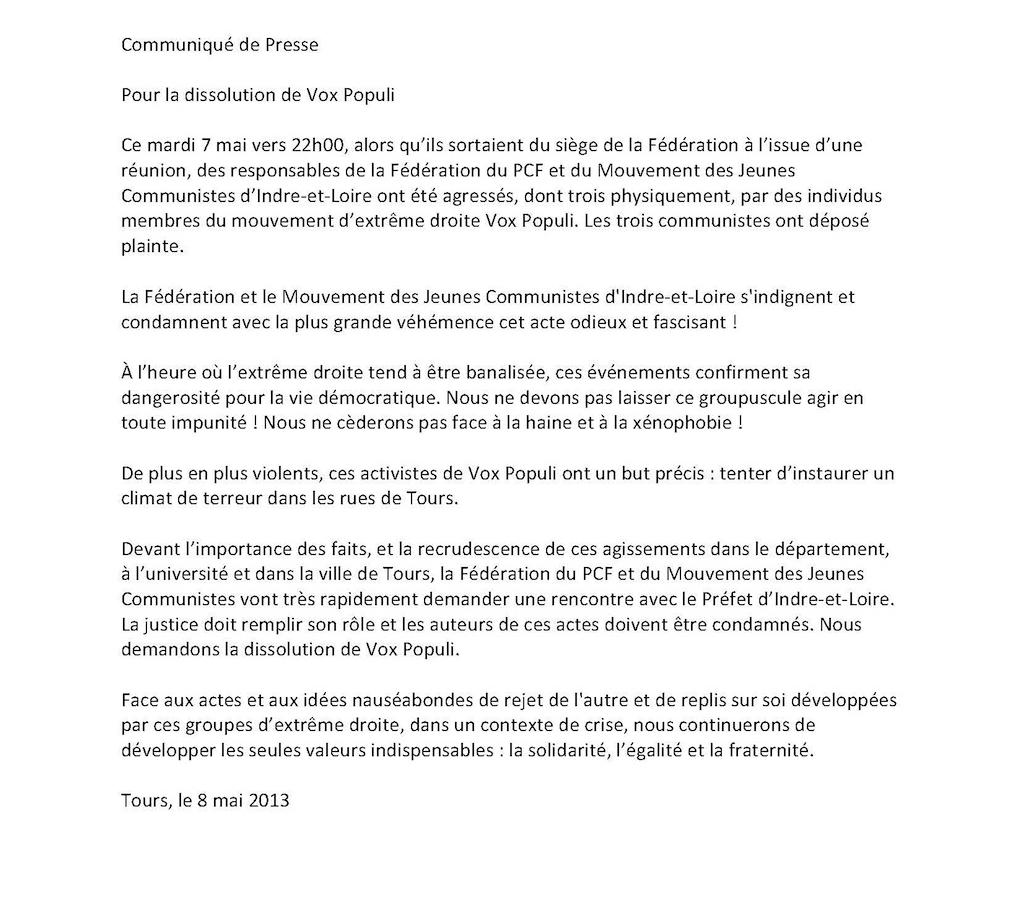 Parti Communiste Français - Page 9 Agression-PCF-IndreLoire